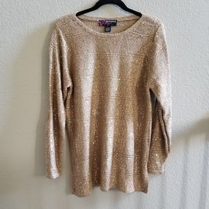 Peck & Peck Gold Sequin Sweater